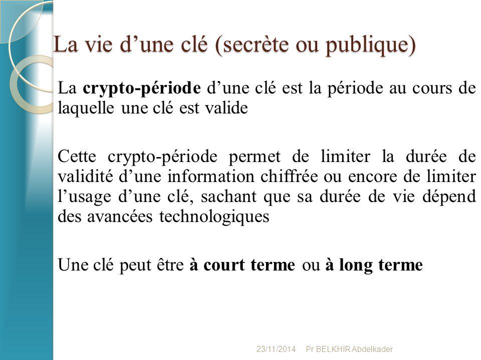 La vie d'une clé (secrète ou publique)