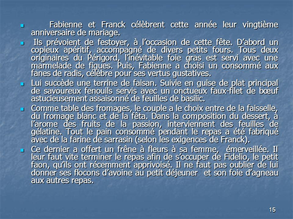 Fabienne et Franck célèbrent cette année leur vingtième anniversaire de mariage.