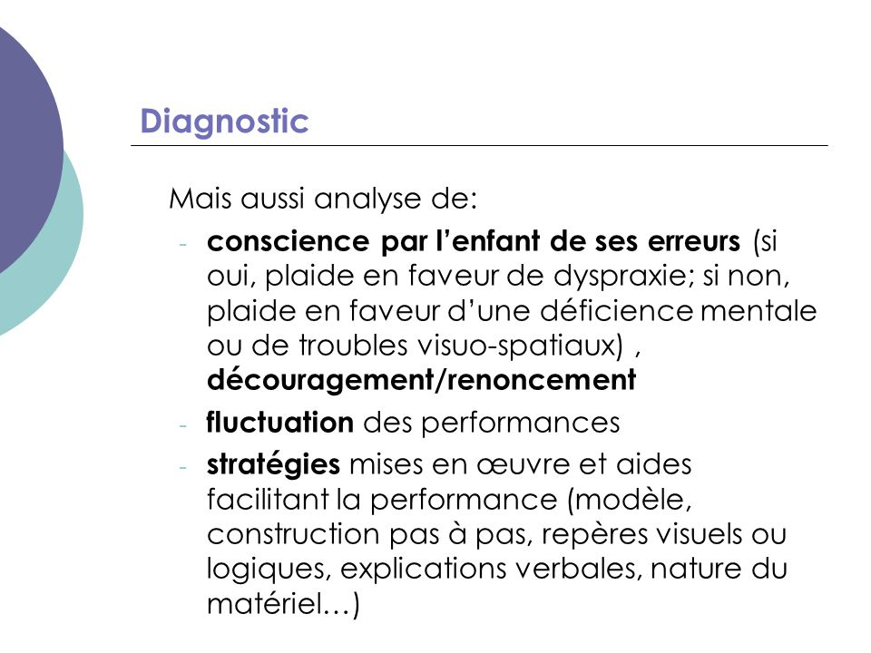 Diagnostic Mais aussi analyse de: