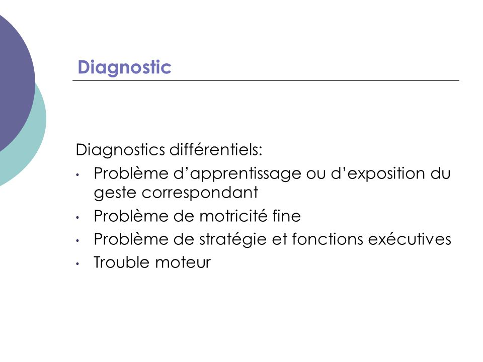 Diagnostic Diagnostics différentiels: