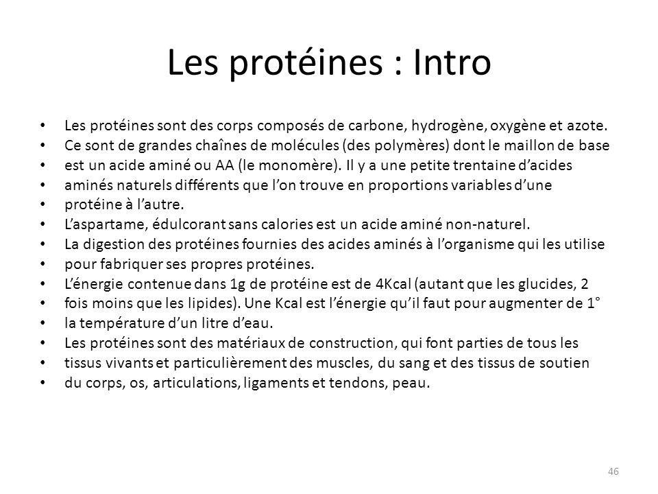 Les protéines : Intro Les protéines sont des corps composés de carbone, hydrogène, oxygène et azote.