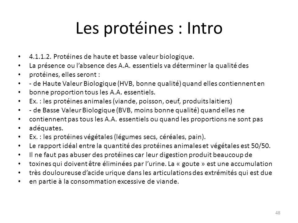 Les protéines : Intro 4.1.1.2. Protéines de haute et basse valeur biologique.