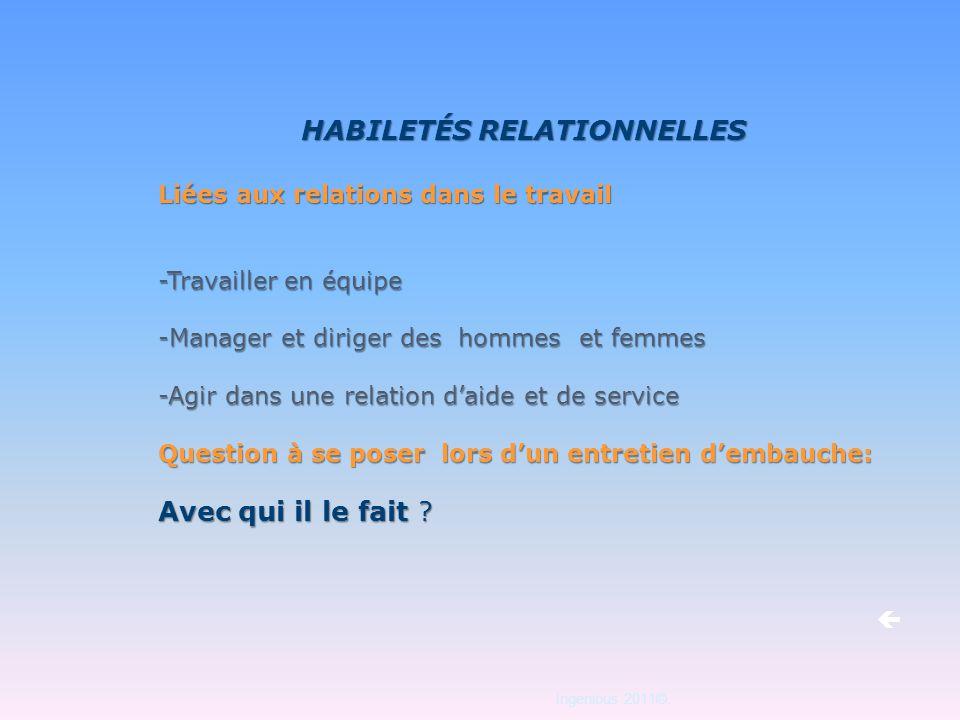 HABILETÉS RELATIONNELLES