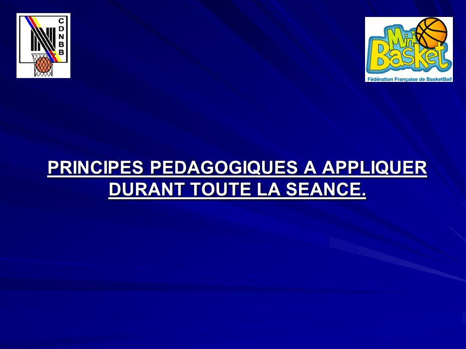 PRINCIPES PEDAGOGIQUES A APPLIQUER DURANT TOUTE LA SEANCE.