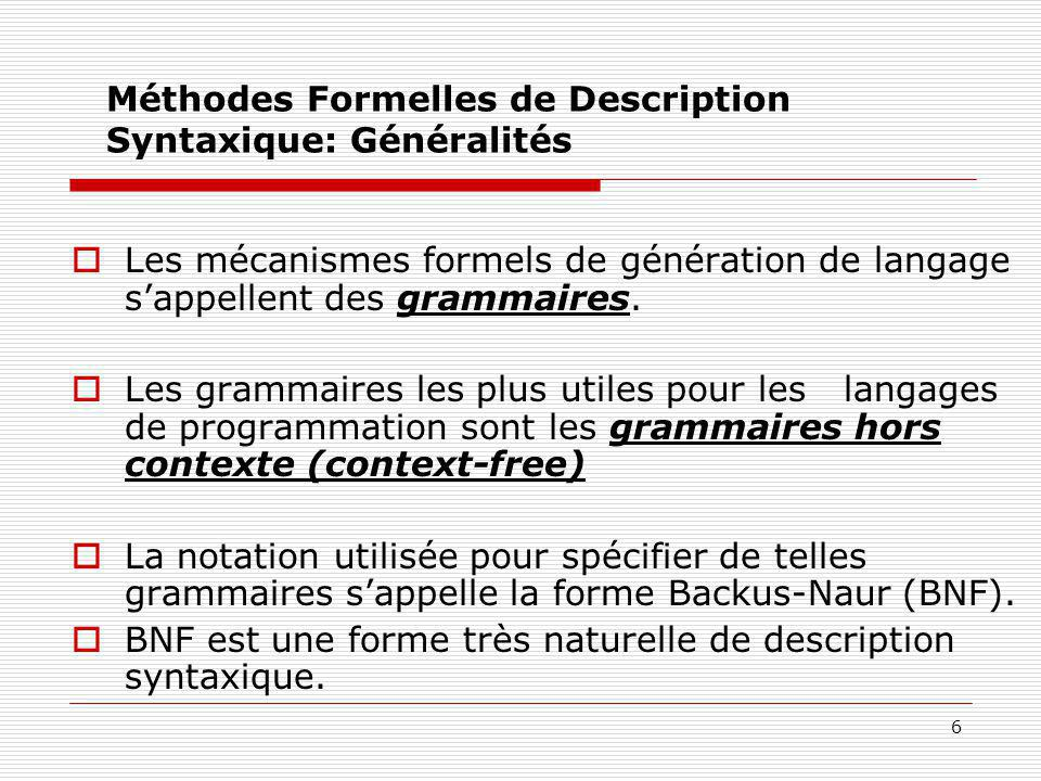 Méthodes Formelles de Description Syntaxique: Généralités