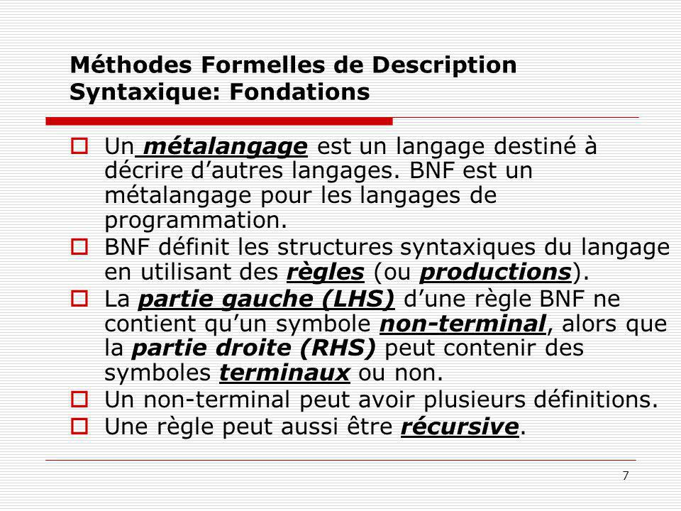 Méthodes Formelles de Description Syntaxique: Fondations