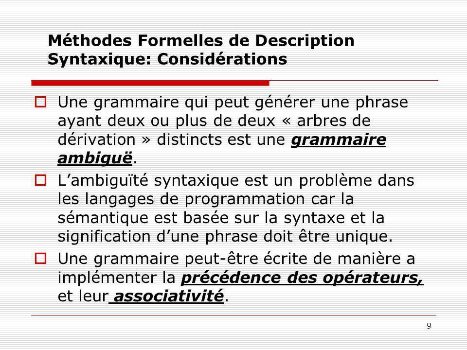 Méthodes Formelles de Description Syntaxique: Considérations