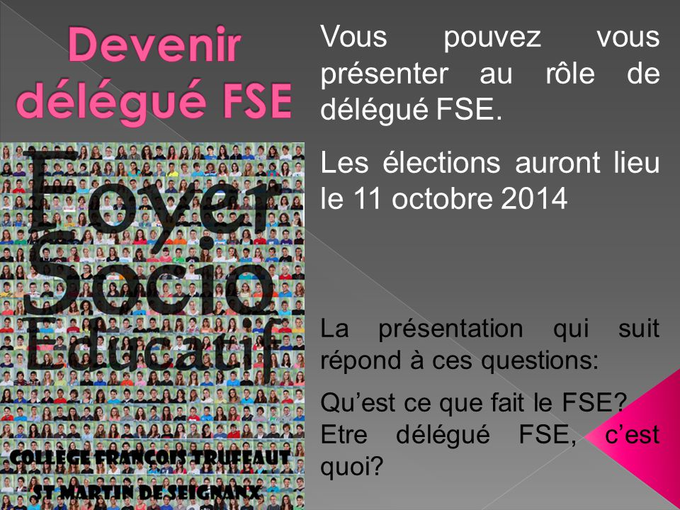 Devenir délégué FSE Vous pouvez vous présenter au rôle de délégué FSE.