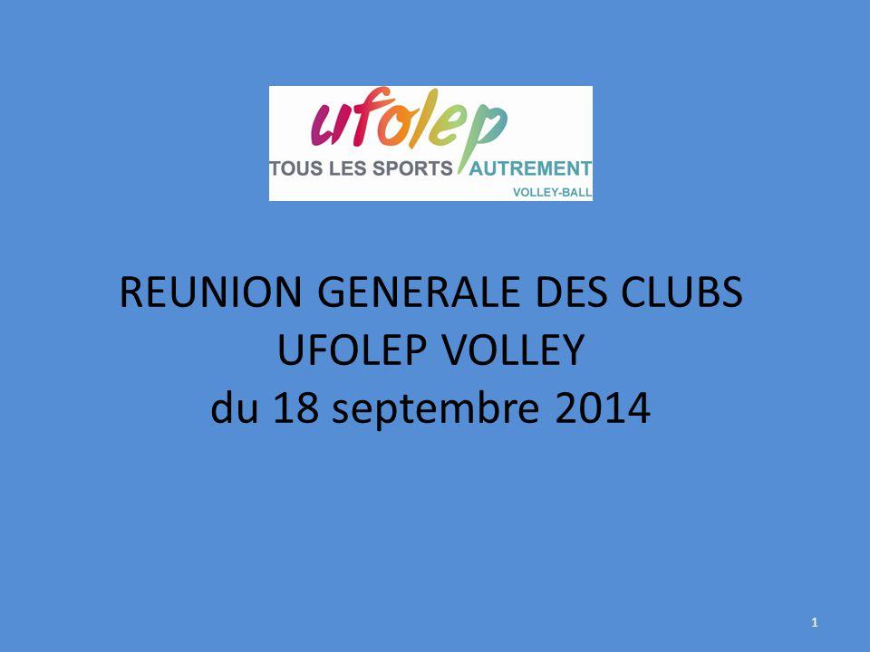 REUNION GENERALE DES CLUBS UFOLEP VOLLEY du 18 septembre 2014