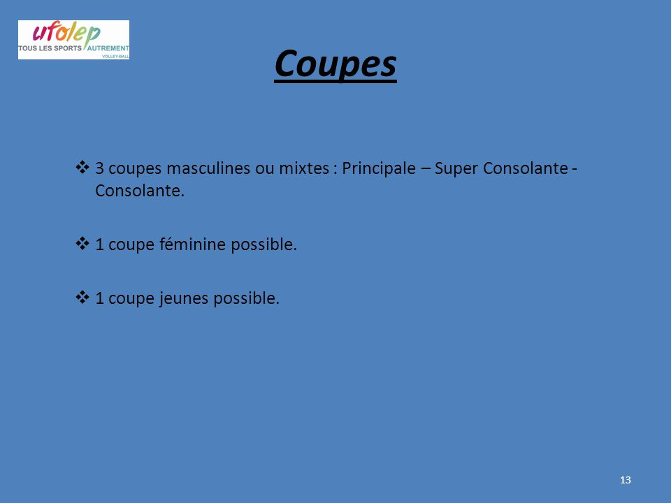 Coupes 3 coupes masculines ou mixtes : Principale – Super Consolante - Consolante. 1 coupe féminine possible.