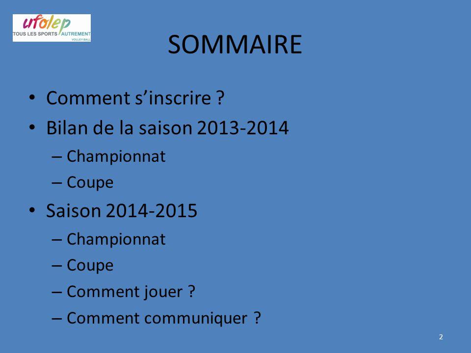 SOMMAIRE Comment s'inscrire Bilan de la saison 2013-2014