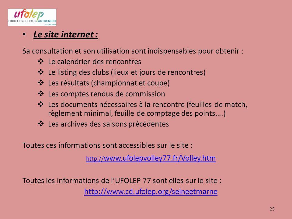 Le site internet : Sa consultation et son utilisation sont indispensables pour obtenir : Le calendrier des rencontres.