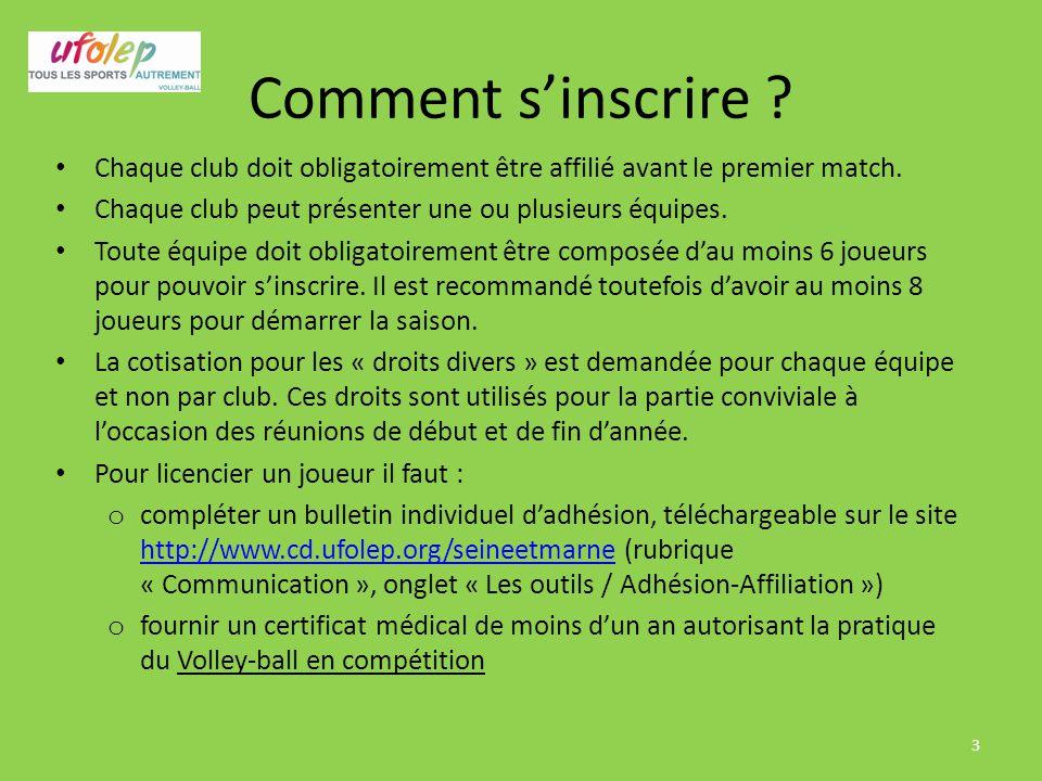 Comment s'inscrire Chaque club doit obligatoirement être affilié avant le premier match. Chaque club peut présenter une ou plusieurs équipes.