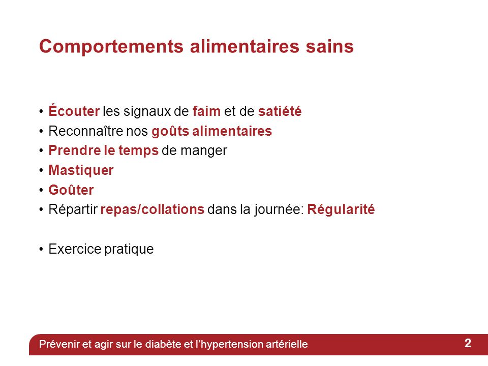 Comportements alimentaires sains