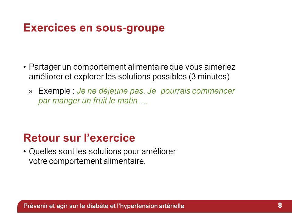 Exercices en sous-groupe