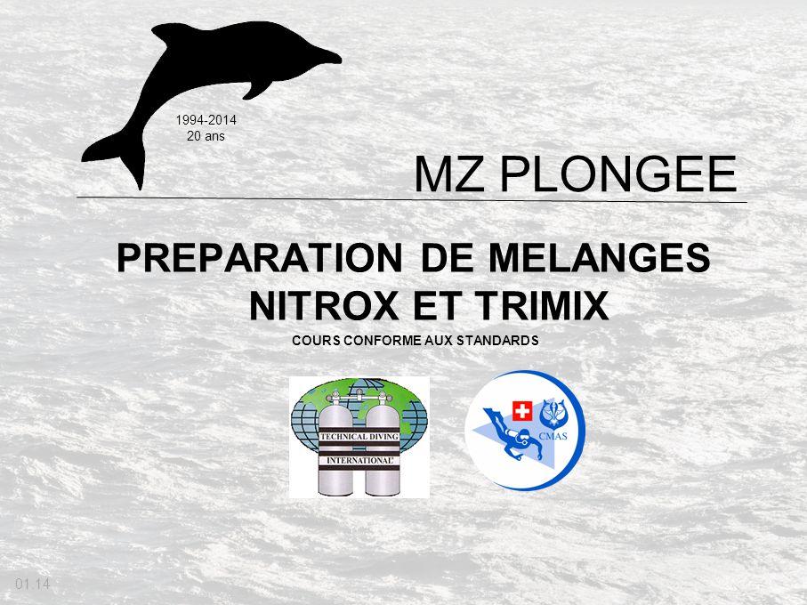 PREPARATION DE MELANGES NITROX ET TRIMIX COURS CONFORME AUX STANDARDS