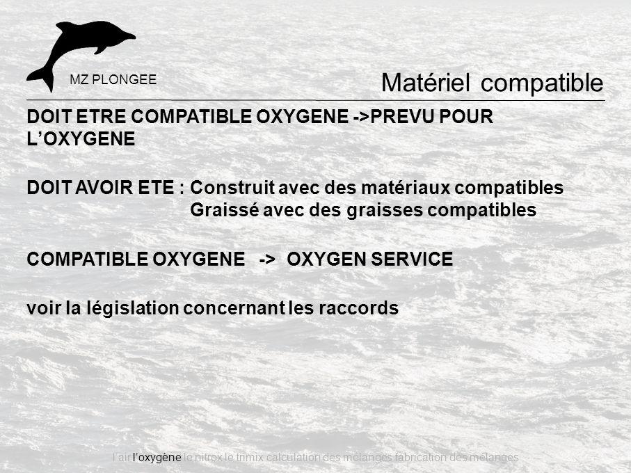 Matériel compatible MZ PLONGEE. DOIT ETRE COMPATIBLE OXYGENE ->PREVU POUR L'OXYGENE.