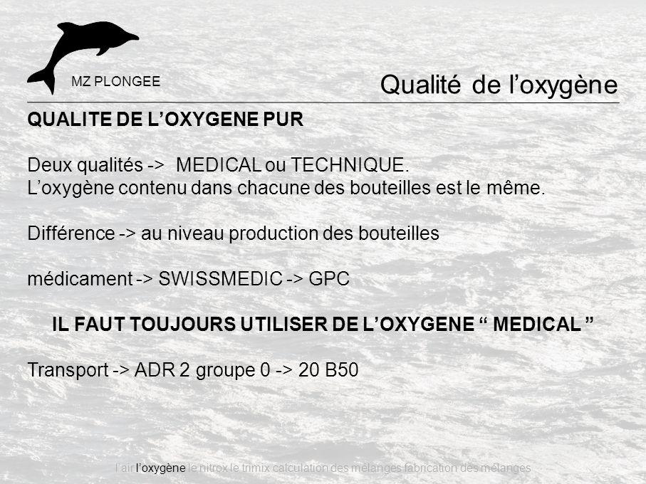 Qualité de l'oxygène QUALITE DE L'OXYGENE PUR