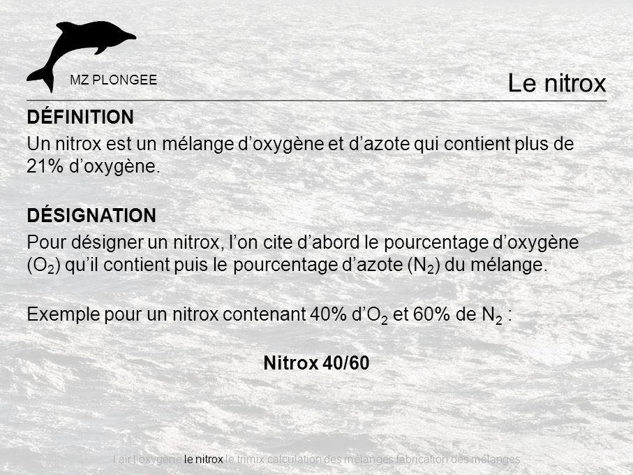 Le nitrox MZ PLONGEE. DÉFINITION. Un nitrox est un mélange d'oxygène et d'azote qui contient plus de 21% d'oxygène.