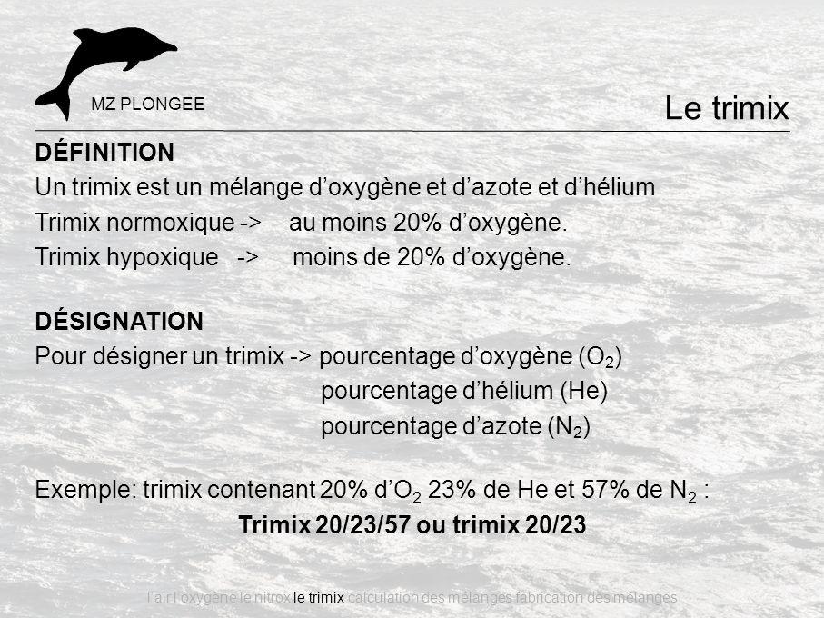 Le trimix MZ PLONGEE. DÉFINITION. Un trimix est un mélange d'oxygène et d'azote et d'hélium. Trimix normoxique -> au moins 20% d'oxygène.