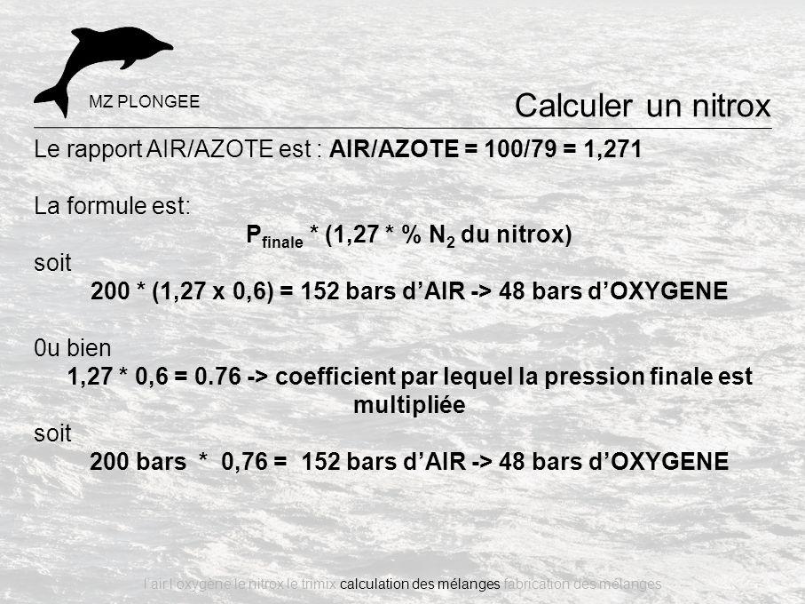 Calculer un nitrox MZ PLONGEE. Le rapport AIR/AZOTE est : AIR/AZOTE = 100/79 = 1,271. La formule est: