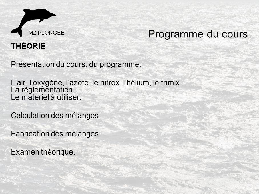 Programme du cours THÉORIE Présentation du cours, du programme.