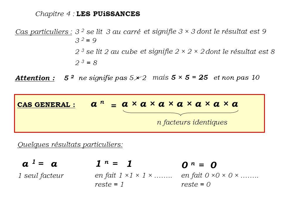 a n a × a × a × a × a × a × a = a 1 = a 1 n = 1 0 n =