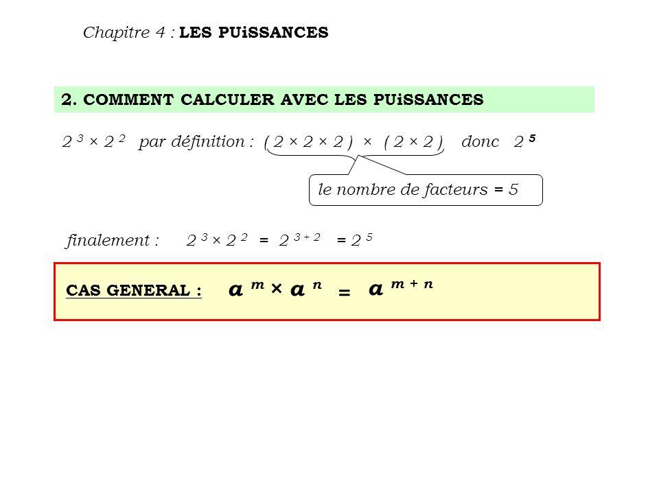 a m × a n a m + n = Chapitre 4 : LES PUiSSANCES