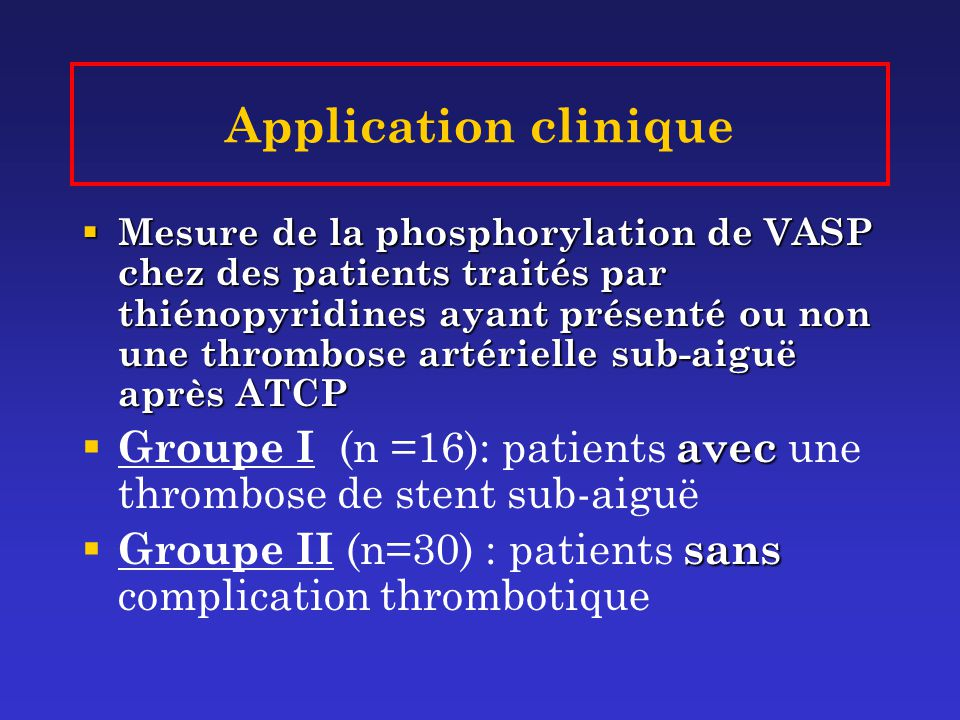 Application clinique