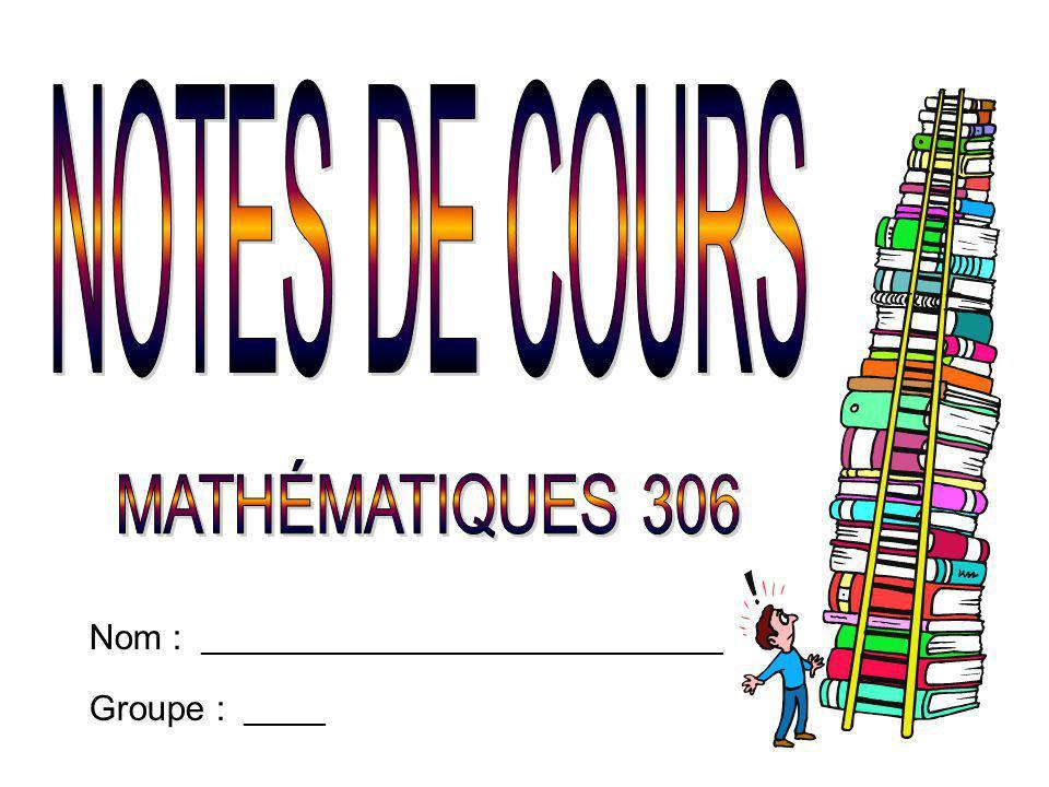 NOTES DE COURS MATHÉMATIQUES 306