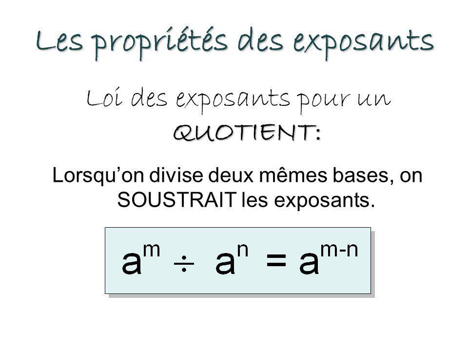 Les propriétés des exposants