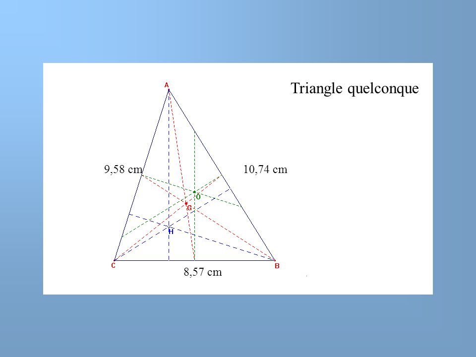 Triangle quelconque 9,58 cm 10,74 cm 8,57 cm