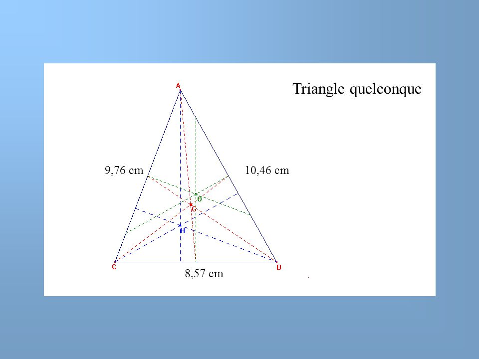 Triangle quelconque 9,76 cm 10,46 cm 8,57 cm