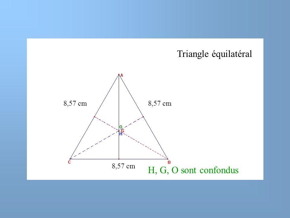 Triangle équilatéral 8,57 cm 8,57 cm 8,57 cm H, G, O sont confondus