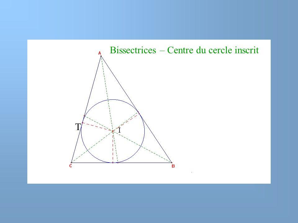 Bissectrices – Centre du cercle inscrit