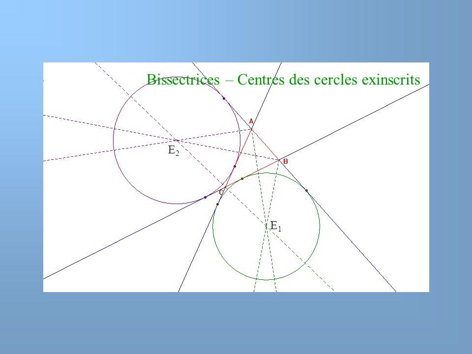 Bissectrices – Centres des cercles exinscrits