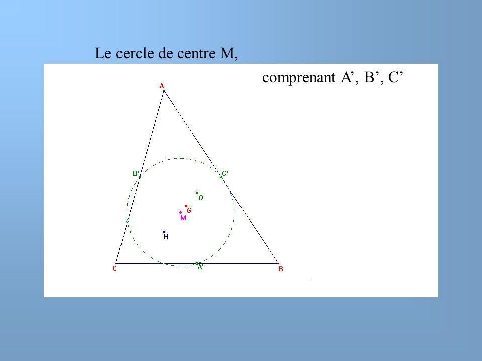 Le cercle de centre M, comprenant A', B', C'
