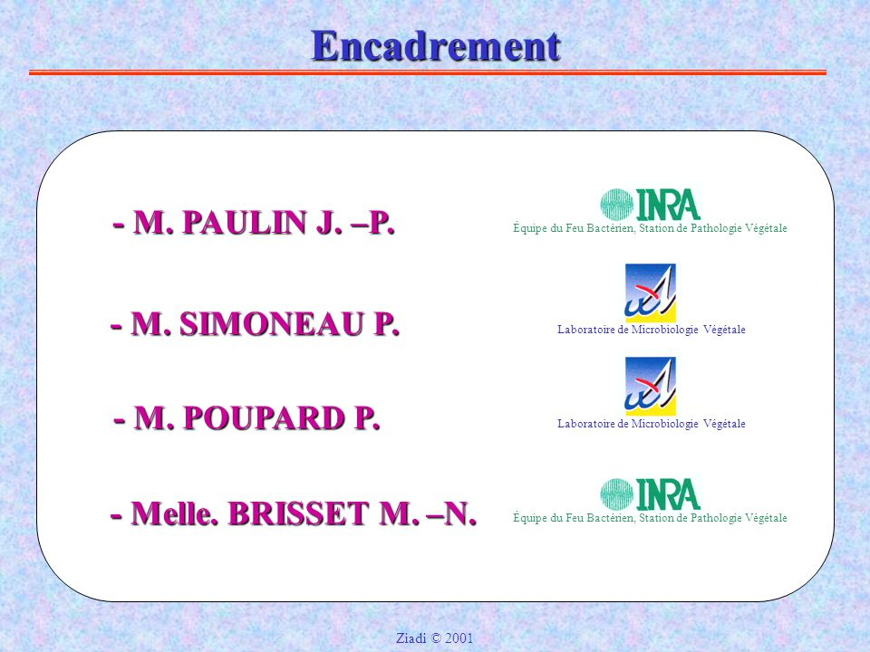 Encadrement - M. PAULIN J. –P. - M. SIMONEAU P. - M. POUPARD P.