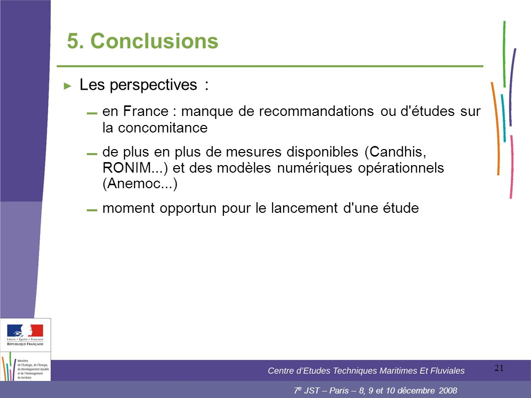 5. Conclusions Les perspectives :