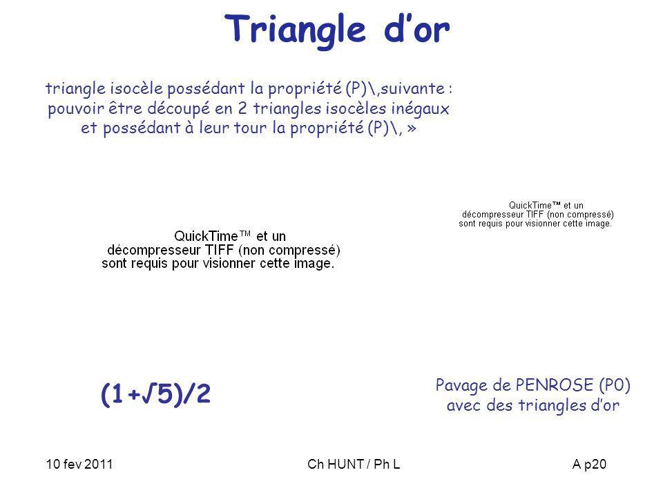 Pavage de PENROSE (P0) avec des triangles d'or