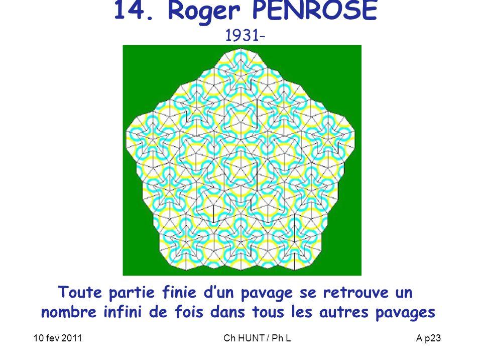 RIAS 21 janv 2010 14. Roger PENROSE 1931- Toute partie finie d'un pavage se retrouve un nombre infini de fois dans tous les autres pavages.