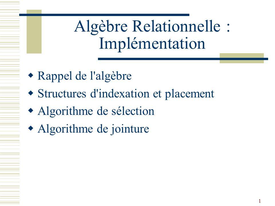 Algèbre Relationnelle : Implémentation