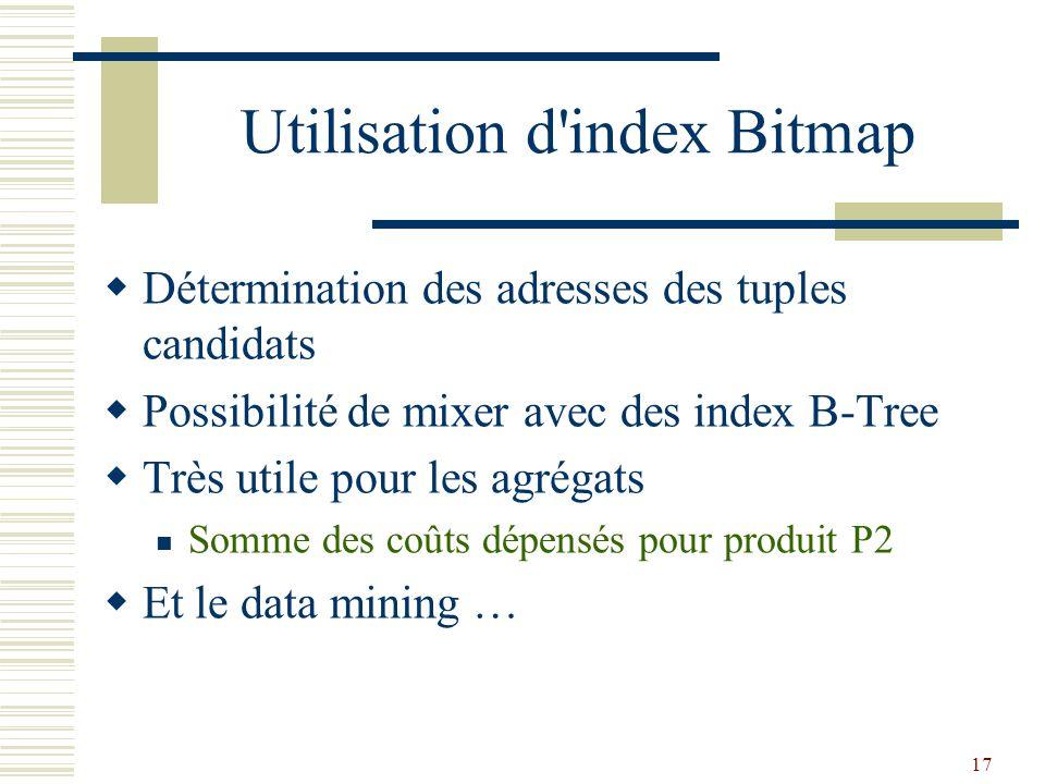 Utilisation d index Bitmap