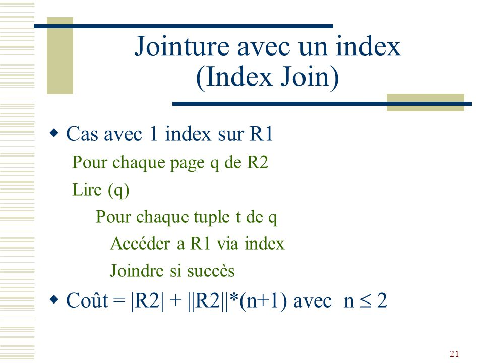 Jointure avec un index (Index Join)