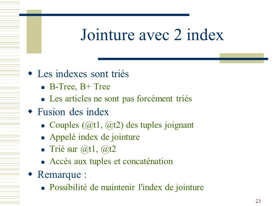 Jointure avec 2 index Les indexes sont triés Fusion des index