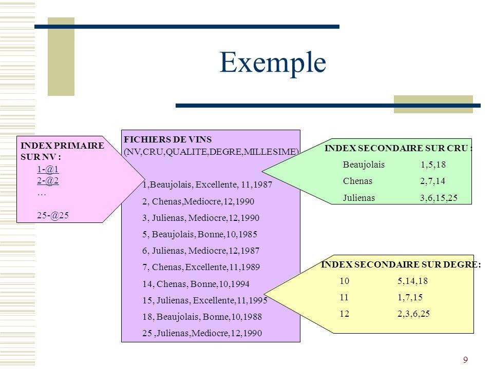 Exemple FICHIERS DE VINS INDEX PRIMAIRE SUR NV :