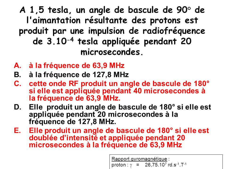 A 1,5 tesla, un angle de bascule de 90° de l aimantation résultante des protons est produit par une impulsion de radiofréquence de 3.10-4 tesla appliquée pendant 20 microsecondes.