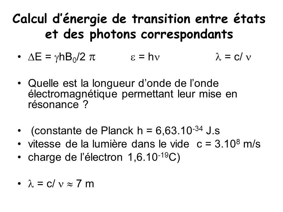 Calcul d'énergie de transition entre états et des photons correspondants