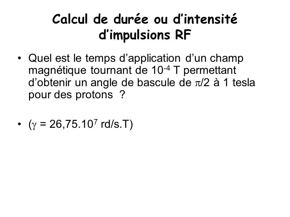 Calcul de durée ou d'intensité d'impulsions RF
