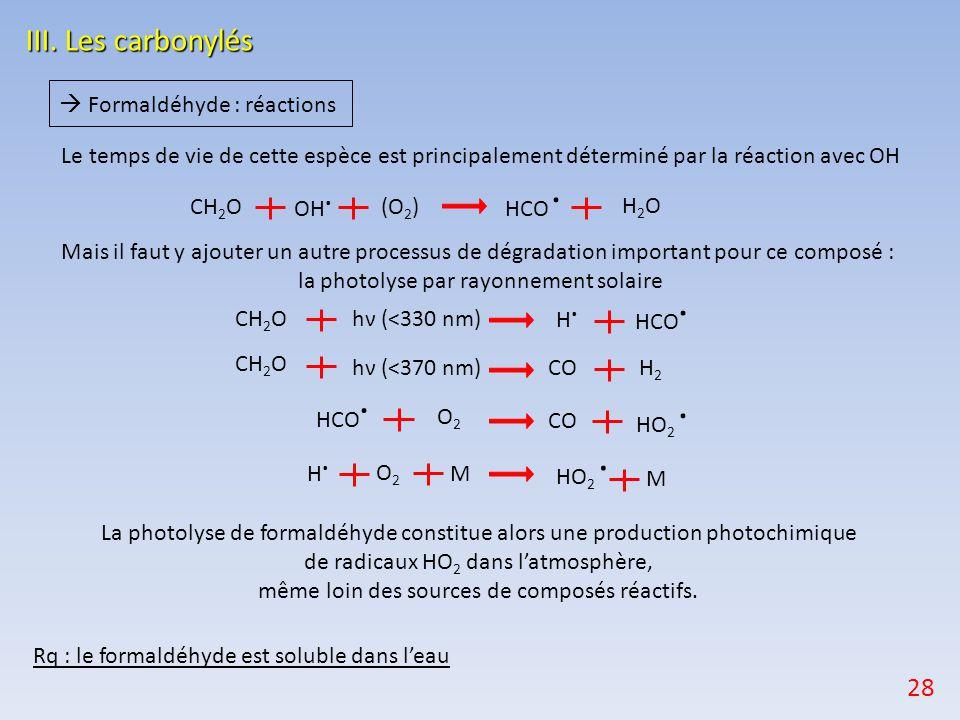 III. Les carbonylés 28  Formaldéhyde : réactions